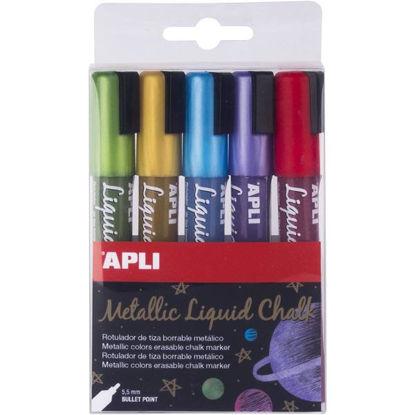 apli17082-rotulador-tiza-liquida-5u-metalizado-punta-redonda-5-5mm-liquid-chalk